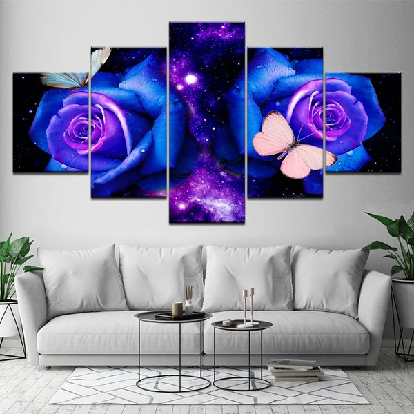 Wall Art Pictures HD Printed On Canvas 5 Panel Purple Rose Butterfly Modern Painting Home Living Room Decoration Posters Frame
