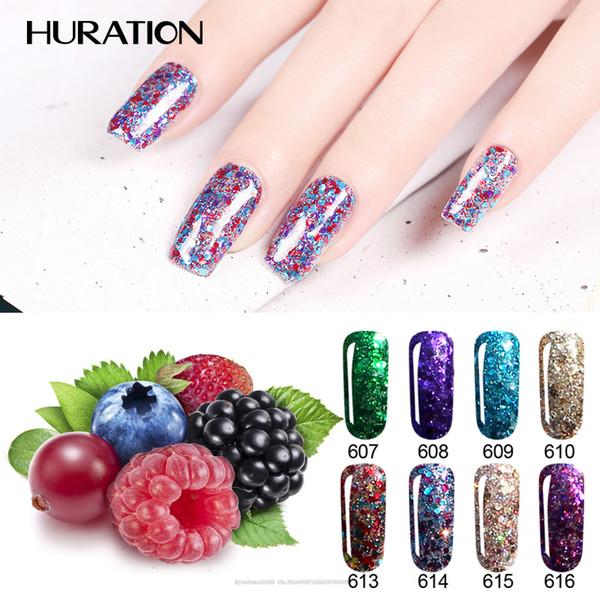 Huration 8ML Glitter 3D Diamond Nail Gel Polish Soak Off UV LED Lamp 20 Colour Manicure Diamond Lacquer Art Nail Gel Varnish