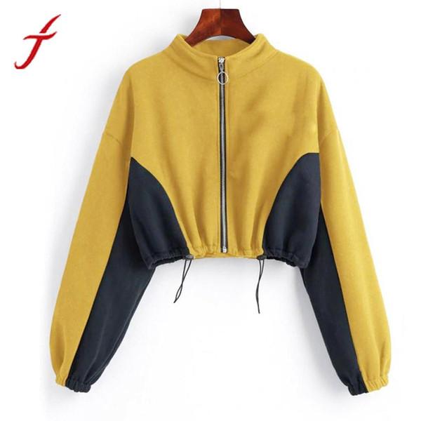 Оптовая Zip-up толстовка женщины дамы шею молния толстовка с длинным рукавом короткий топ пуловер осень пуловеры желтый
