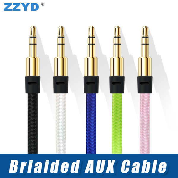 best selling ZZYD Braided Audio Cable 1M 3.5mm Nylon Auxiliary Male to Male Extended Aux Cords for Samsung Phones MP3 Speaker