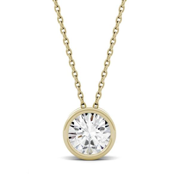 Moissanite colgante 1ct Moissanite bisel conjunto Solitario collar de compromiso cadena 14K oro amarillo sólido laboratorio diamante Wedding Band