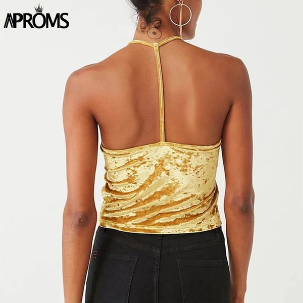 Aproms Luxe Soft Velvet Sleeveless Top Women Streetwear Fashion Cool Basic Camis Sexy High Neck Crop Tank Top Short Bustier Tees