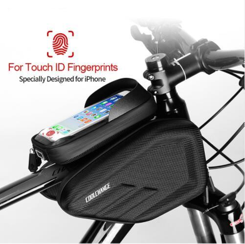 Waterproof Bike Bag Frame Front Head Top Tube Cycling Bag Double IPouch 6.2 Inch Touch Screen Bicycle Bag Accessories