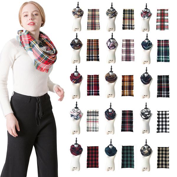 Designer Plaids Infinity Scarves Grid Loop Scarf Blankets Tartan Oversized Check Shawl Lattice Wraps Fashion Fringed Cashmere Pashmina