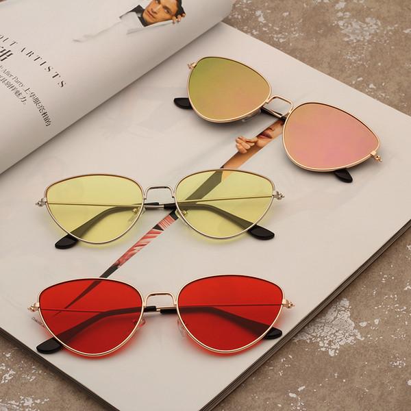 Moda para hombre Gafas de sol señora Personalidad Gafas de sol de lujo Photochromic Rushed aleación Vintage Gato ojo tintado Color en forma de gafas