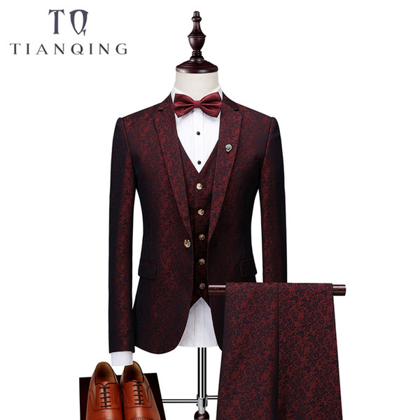 Elegant Wine Groomsmen Notch Lapel Groom Tuxedos Burgundy Jacket Mens Suits Wedding Suits for Men Blazer Suit Party Prom