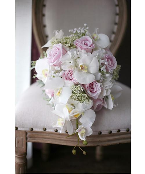 Bouquet Da Sposa Orchidee.Acquista Bouquet Da Sposa Fatto A Mano Romantico Avorio Rosa De Mariage Rose Orchidea Fiore Di Seta Artificiale Bouquet Da Sposa Fatto A Mano 2018