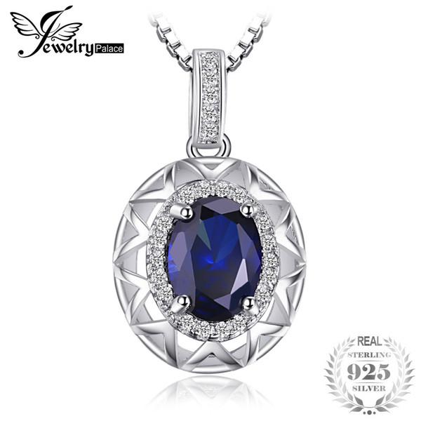Jewelrypalace venda quente russa projeto real azul safira pingente de prata sólida 925 sterling silver jóias sem cadeia s18101308