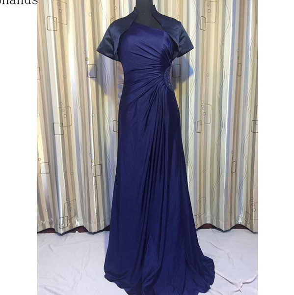 Ghands 2018 Jersery A-Line Tow piece of Suit JJShouse Beading One-shoulder CourtTrain Formal Gowns Wedding Guest Mother of The Bride Dresses