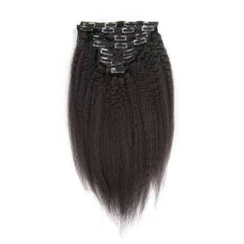 Coarse Yaki Kinky Straight Clip In Hair Extension 7Pcs/Set Brazilian Remy Hair Coarse Yaki Clip Ins Natural color 120G