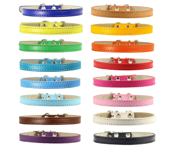 pu pet collar leather pet solid soft colourful collars dogs neck strap adjustable safe puppy kitten cats collar