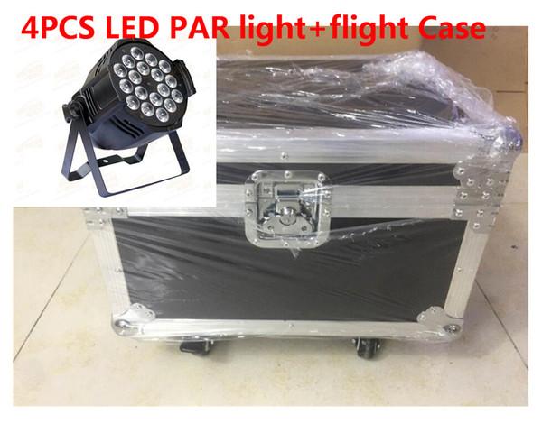 flight case 4pcs/lot Aluminum alloy 18x12W RGBW 4in1 LED Par Can Par64 led spotlight dj stage light
