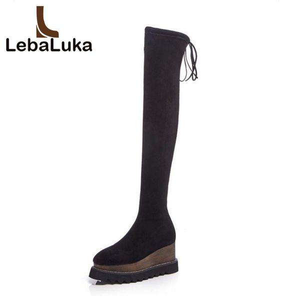 LebaLuka High Wedges Femmes Bottes Réel En Cuir Dames Chaussures Fourrure Hiver Cuisse Haut Bottes Stretch Femme Chaussures Taille 33-42