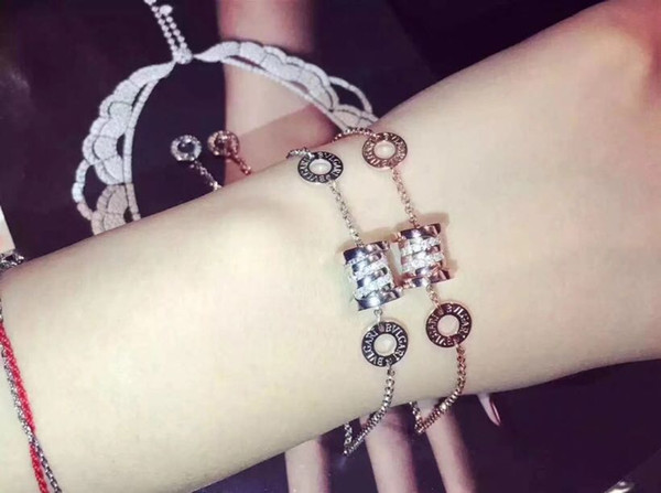 Famous Luxury Brand S925 Sterling Silver Rose And White Gold Full Crystal Spring Pendant Charm Bracelet For Women Fashion Jewelry