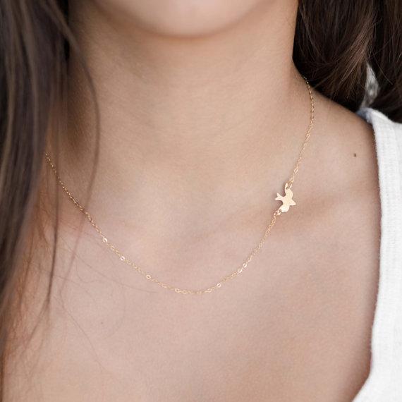 30pcs Peace symbol swallow Cute Peace Dove pendant charm Necklace Sparrow Necklace Flying Origami Swallow Necklace Tiny Baby Bird Necklaces