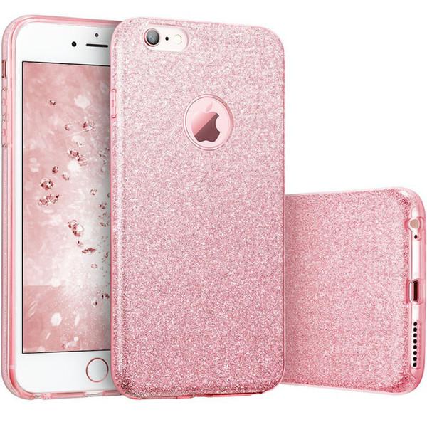 d69f4668446 Estuche Bling Glitter para iPhone 6 6S Plus 3 en 1 TPU PC Funda de silicona