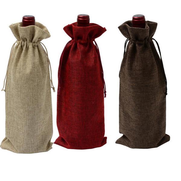 Neue Jute Wein Taschen Champagner Weinflasche Abdeckungen Geschenkbeutel leinwand Verpackung tasche Kordelzug abdeckung Hochzeit Dekoration