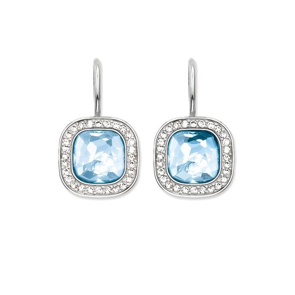 Square Blue Crystal Drop Earrings for Women and Men White CZ Around Dangle Earrings Silver Fashion Good Jewelry Gifts