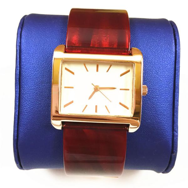 2019 quadrante quadrato di lusso di moda donna orologio nero / marrone / rosso cinturino in plastica orologio da polso da donna orologi al quarzo orologio vestito orologio spedizione gratuita