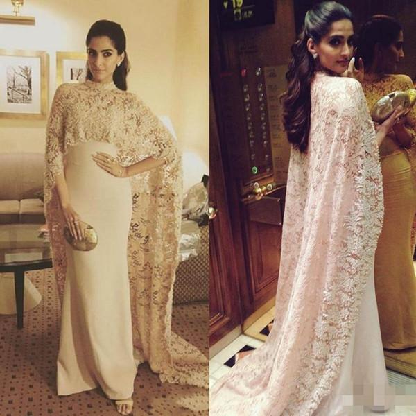 Lace Cloak Two Pieces Sheer Evening Dress Elegant Women Party Wear prom Dresses Formal Maxi Gowns Vestido de Festa Plus size Mother Dress