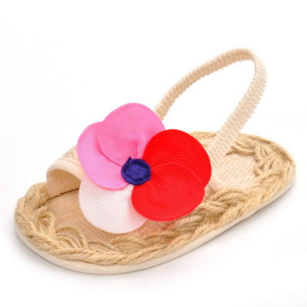 Summer New Big Flower Baby Shoes Soft Bottom Foreign Trade Elastic Band 0-1 year Old Baby Toddler Shoes