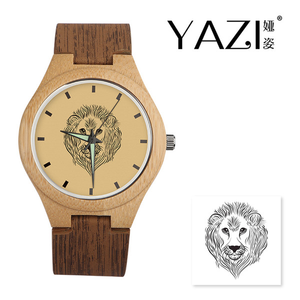 YAZI DIY Wooden Watch large meatball Logo Quartz Watch Natural Bamboo Wood Case Wrist Wood Stripe Band Gift For Friend