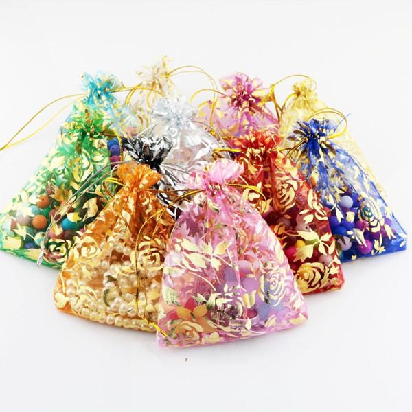 9 * 12 cm Renkli Organze Hediye Çanta Yaldız Gül Tasarım İpli Çanta 8 renkler Mini Şeker Çanta Takı Ambalaj Torbalar