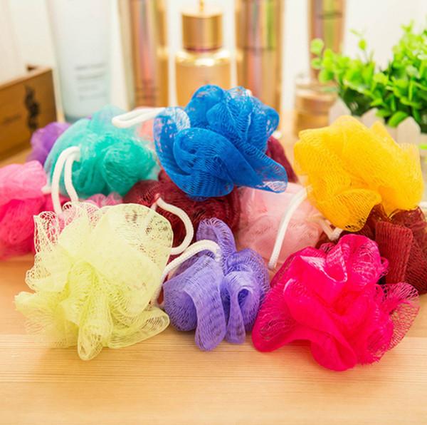 Örgü Renkli Naylon Banyo Çiçek Havlu Banyo Spa Duş Scrubber Yıkama Banyo Topu Renkli Banyo Fırçaları Süngerler 11g GGA49