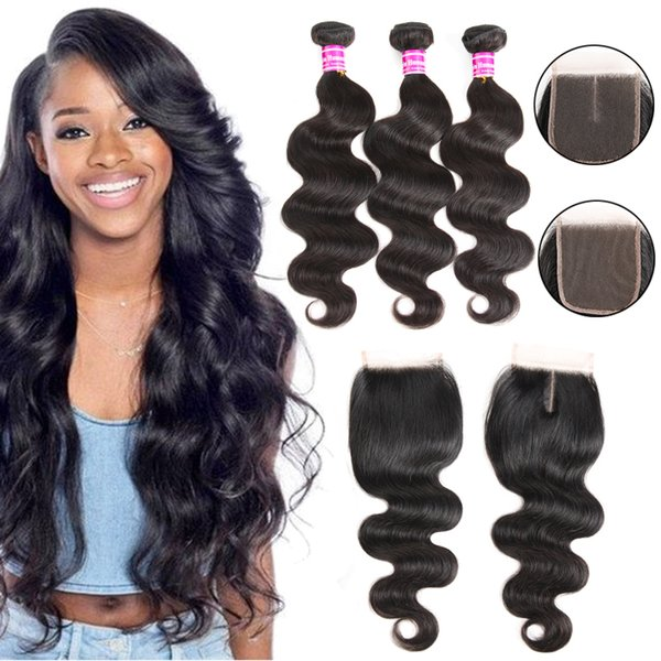 Body Wave Human Hair Weaves With Closure 10A Brazilian Virgin Hair Bundles With Lace Closures Accessories Remy Hair Extensions Wholesale
