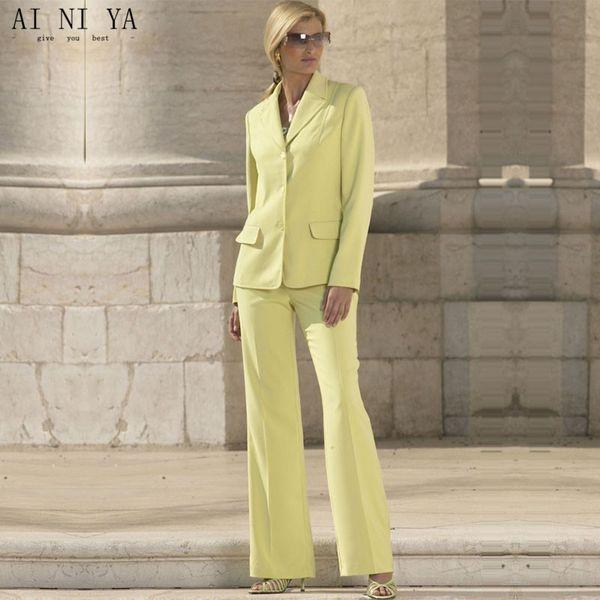 Yellow Formal Suits for Women Office Business Suitspants Work Wear 2 Piece Sets Uniform Styles Elegant Female Trouser Suit
