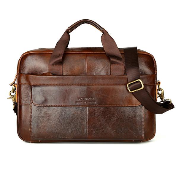 2018 couro genuíno dos homens do vintage bolsa de ombro bolsa de couro genuíno para o mensageiro laptop laptop sacos de luxo advogado bolsa de mão