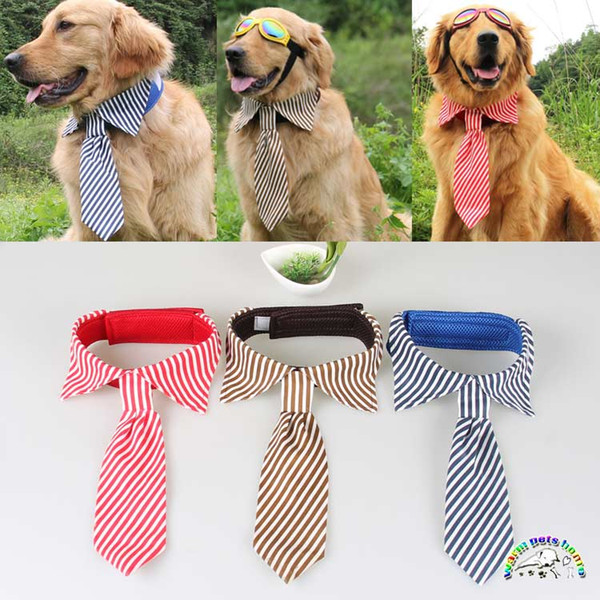 Blue Red Coffee Stripes Large Dog Neckties For Husky Samoyed Golden Retriever Adjustable Grooming Bow Ties Pet Accessories Dog Apparel
