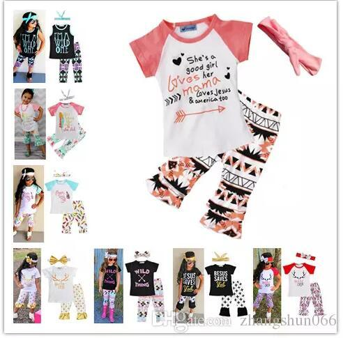 New Girls Baby Childrens Clothing Set Letters tshirts Pants Headbands 3Pcs Set Fashion Summer Girl Kids Tops Suits Boutique Clothes Outfits