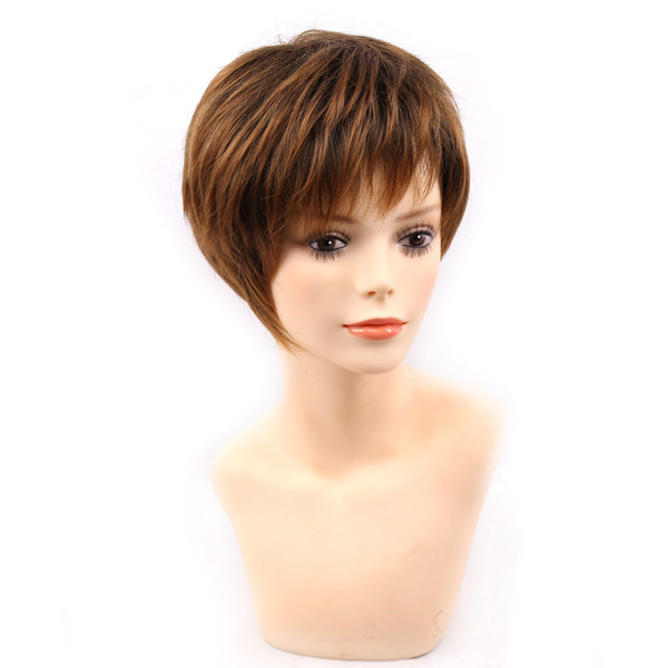 blonde short female haircut, puffy straight pelucas pelo natural short Synthetic hair wigs for American Africa women