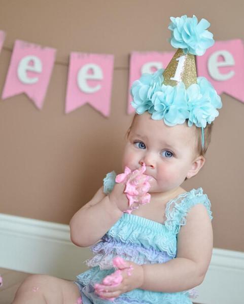 Baby 1st Party Party Hat Cap Fushia Glitter First Birthday Party Hat Smash Flower Birthday Sombrero de niñas Baby Girls Gold Crown