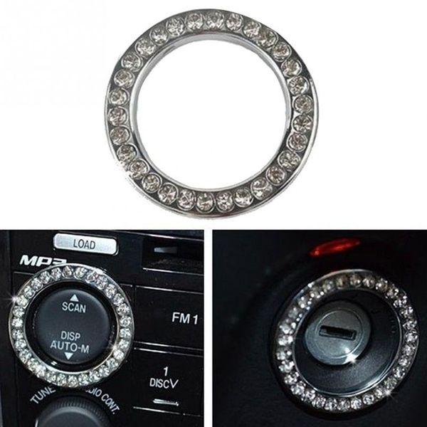 2X 2019 최신 자동차 버튼 START 스위치 버튼 인테리어 장식 모조 다이아몬드 링 자동차 자동차 액세서리