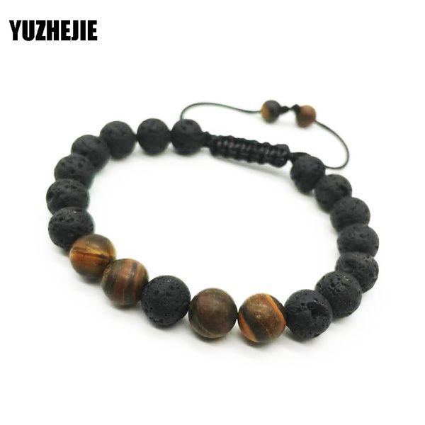 Lava Charm Bracelets Black Volcanic Lava Stone Tiger Eye 8mm Beaded bracelet For Women Fashion personality Buddha Men Jewelry