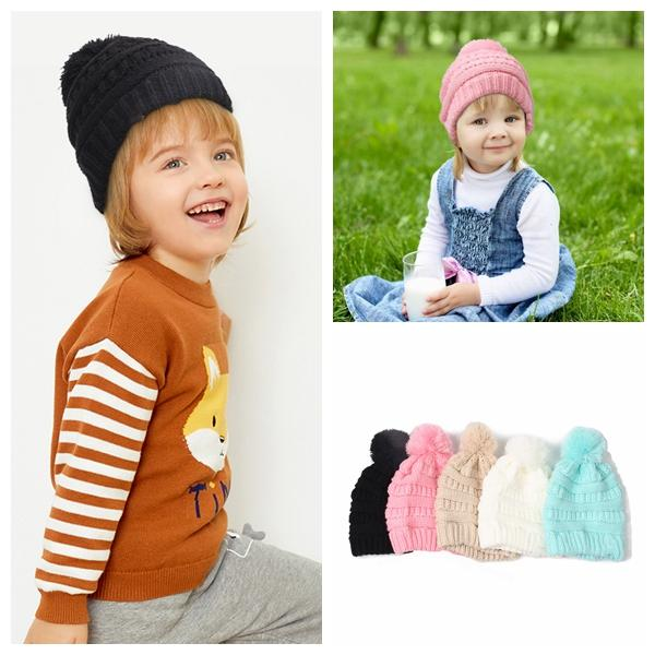 stricken pompom Beanie Kids Strickmützen Kids Chunky Skull Caps Winter Zopfmuster Slouchy Crochet Hats Outdoor Warme Mütze KKA2280