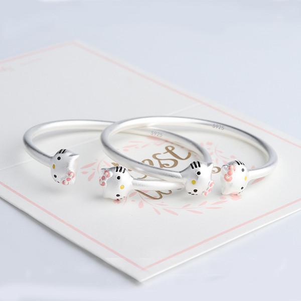 Sterling Siilver 925 New Fashion Hot Hello Kitty Bracelet Charm Bracelet For Children Or Female Personality Jewelry Bracelets