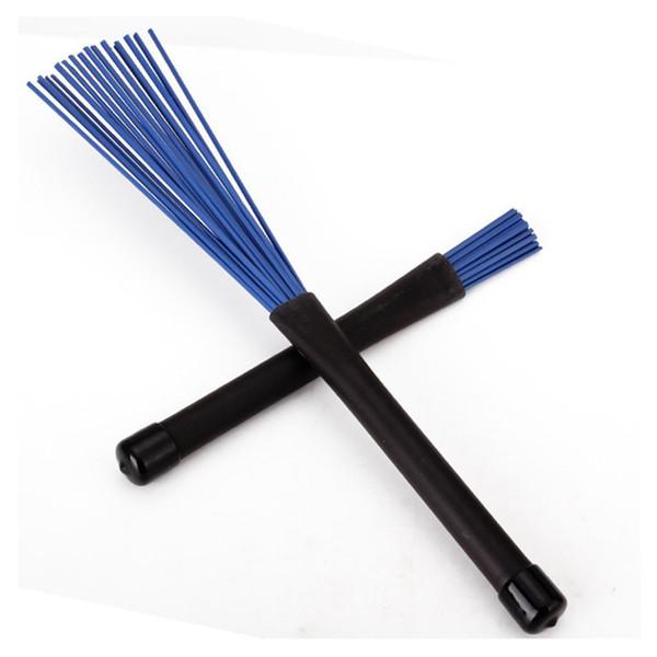 top popular Generic 1 Pair Jazz Drum Brushes Retractable Drum Sticks 32cm black blue 2021