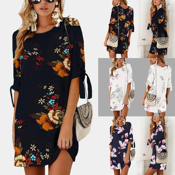 Bohemian hot explosion models Europe and the United States female round neck chiffon printing loose sleeve dress