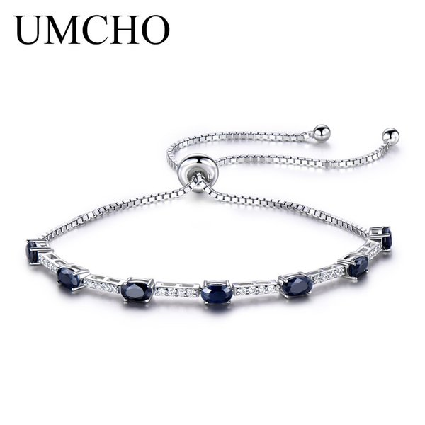 UMCHO 2.45ct Luxury Natural Blue Sapphire Bracelet For Women 925 Sterling Silver Jewelry Gemstone Romantic Wedding Love GiftY1882701