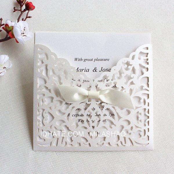 Lace Elegant Wedding Invitation Card With Transparent Envelop Laser Cut Holiday Greeting Card Gift Card Party Supplies Online Wedding Invitation Maker