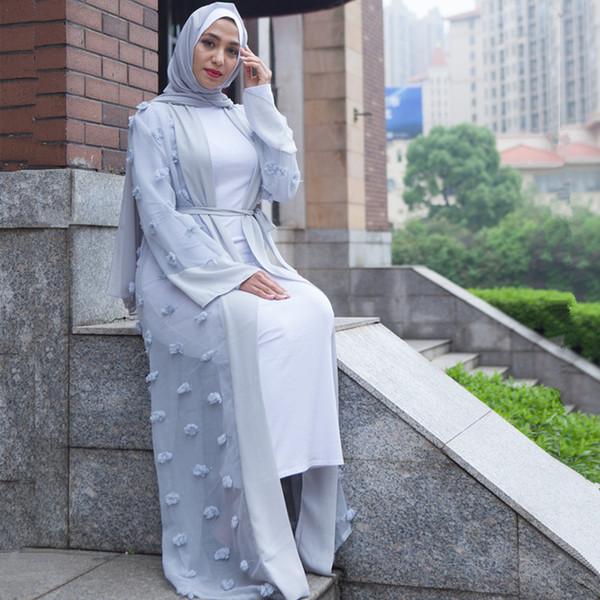 Плюс Размер Кимоно Mujer 2018 Boho Абая Мусульманские Женщины Длинные Лоскутное Кружева Сетки Макси Кардиган Дубай Турецкий Исламский Молитва Одежда
