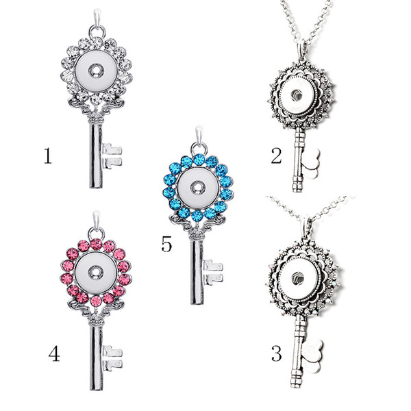 5 Style Noosa Chunks Ginger Key Snap Button Jewelry Heart Triangle Charm 18mm Snap Button Key Necklace For Women