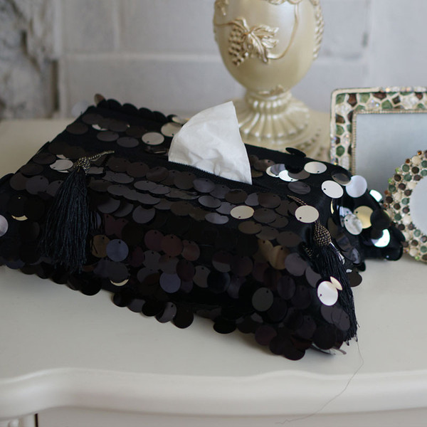 23x35cm black and white sequins paper towel handmade fashion cloth towel box car home accessories gift Storage Tissue Box Multi