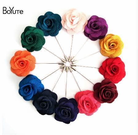 BoYuTe 5Pcs 22 Colors High Quality Camellia Flower Lapel Pin Brooch Men Fashion Wedding Boutonniere