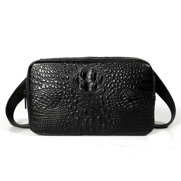 Genuine Leather Men Bags Fashion Crocodile Pattern Man Crossbody handbag Shoulder Bag Men's waist bag Men Clutch Bags male purse
