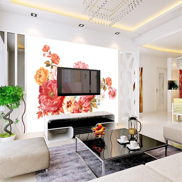 Newest American Style Vintage Pink Beautiful Floral Wallpaper Colorful Tropical Flower Living Room Bedroom Wall Covering Home Decoration Modern Wall