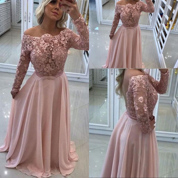 Elegant Lace Long Sleeve Evening Dresses Jewel Beaded Chiffon Floor Length Evening Gown Backless Special Occasion Prom Party Dress Custom